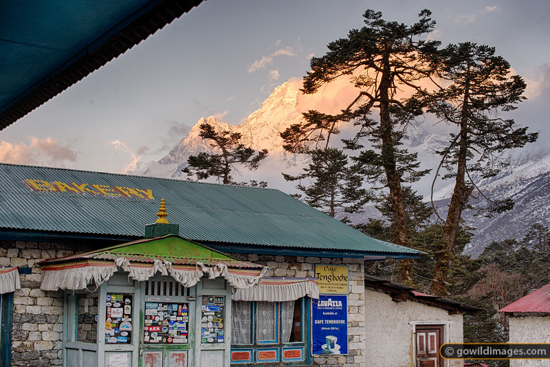 Sunset on Ama Dablam and the world's highest espresso coffee? 3867m Tengboche