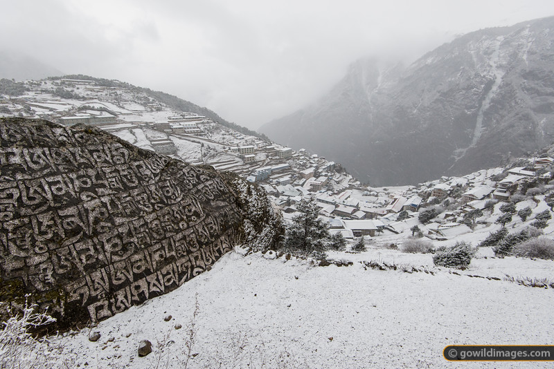 Spring snow in Namche