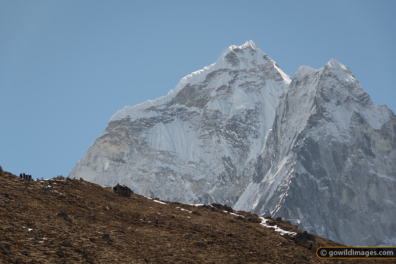 Trekkers head from Pheriche (4230m) to Dingboche (4400m) enjoy the view of Ama Dablam overhead
