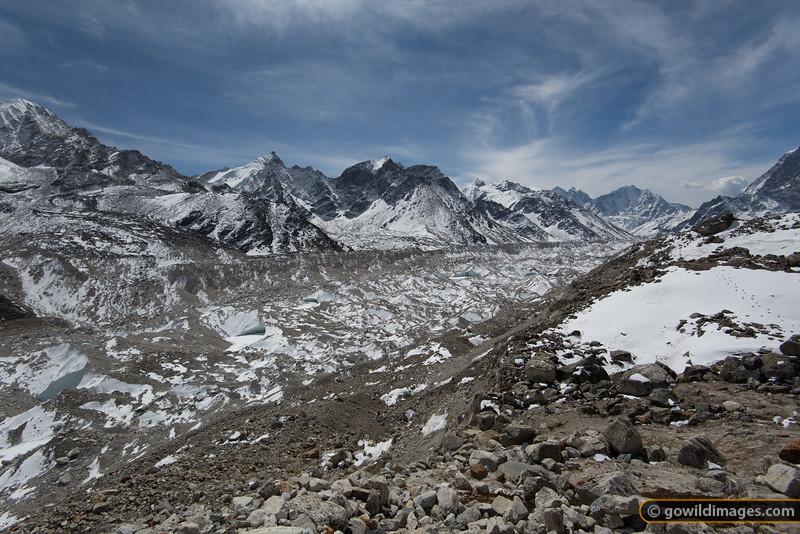 Khumbu glacier, looking back towards Lobuje