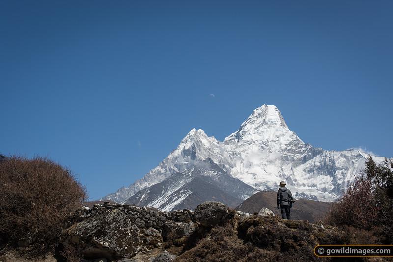 A trekker enjoys the grand ridges of Ama Dablam