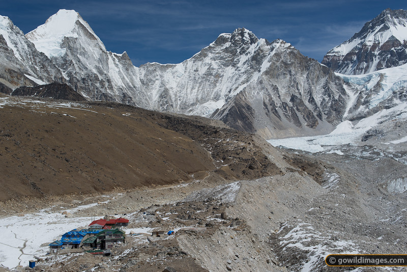 Gorak Shep village at 5160m. Base camp is just out of view in the middle of the image. Kala Pattar is out of frame to the left. The peak at top right is the north peak of Everest, in Tibet. To the front of it is Lho La, the infamous pass used by refugees from Tibet.