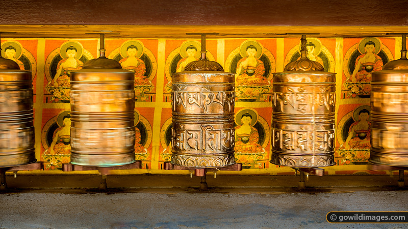 Prayer wheels outside Namche Gompa (monastery)