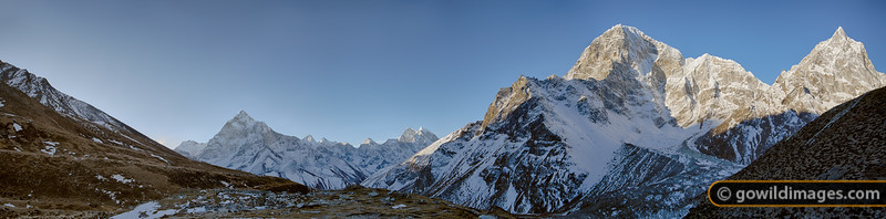 (L-R) A distant Ama Dablam and nearer peaks: Tabuche 6495m, Cholatse 6335m and Arakam 6423m. Can be printed to over 140cm/55in width