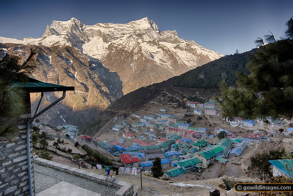 View of Namche from Yeti Mountain Home lodge