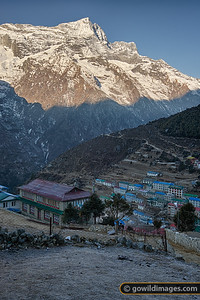 Namche Bazaar with morning frost