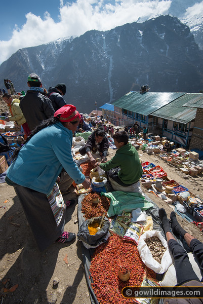 Saturday market in Namche