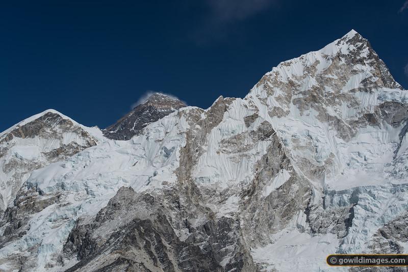 Mt Everest (centre) with it's west ridge (L) and Nuptse (R)