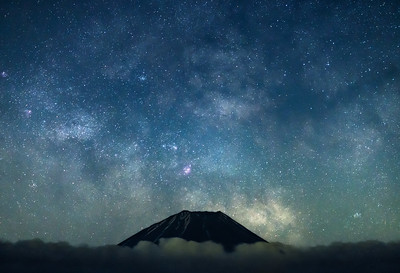 Tip Of Mt Fuji With Milky Way