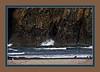 Filtered, framed version of water surging through Haystack Rock, Bandon