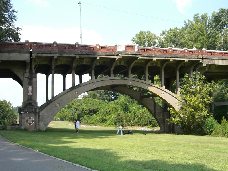 Stone bridge that you cross at the entance of the park. Piedmont Park, Atlanta Georiga, September 8, 2006