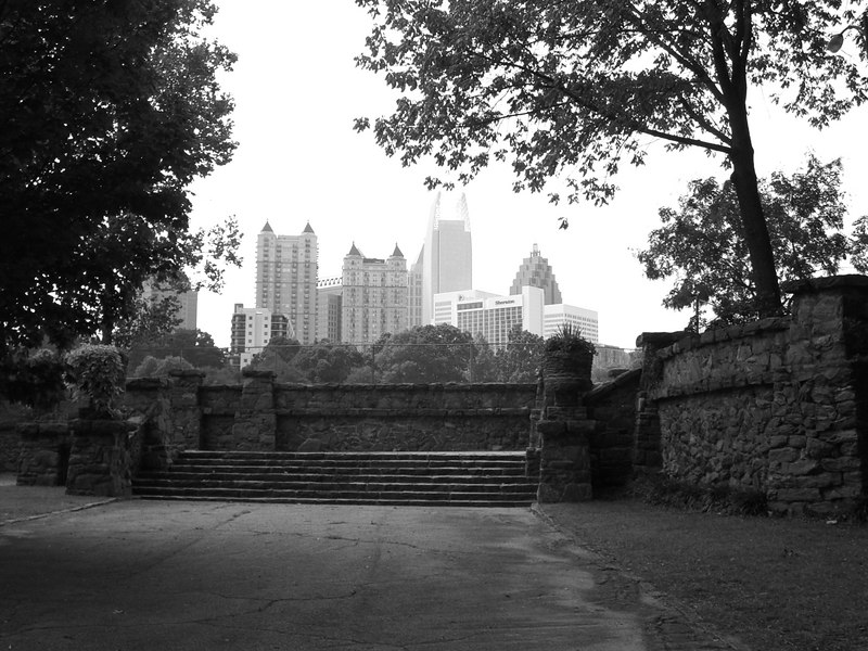 Views of the city from Piedmont Park, Atlanta Georiga, September 8, 2006   The stone steps that lead to a great lawn