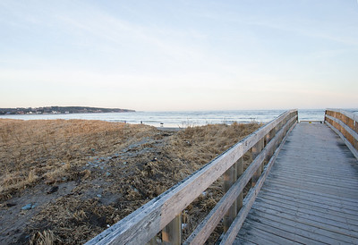 Boadwalk to beach. The boardwalk protects the Piping Plovers that nest in the nearby grass.