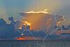 Crepuscular Rays, Sunrise, Gulf of Mexico,<br /> Bolivar Flats, Texas