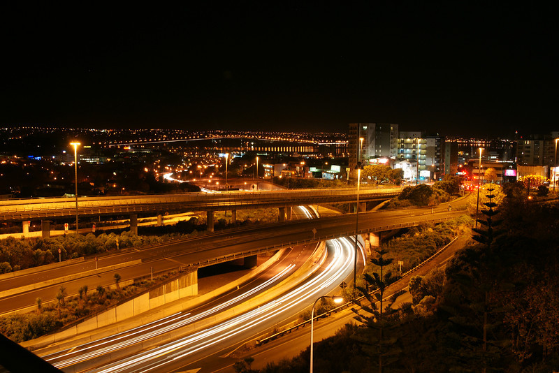 """Auckland """"Spaghetti Junction"""" from my apartment balcony."""