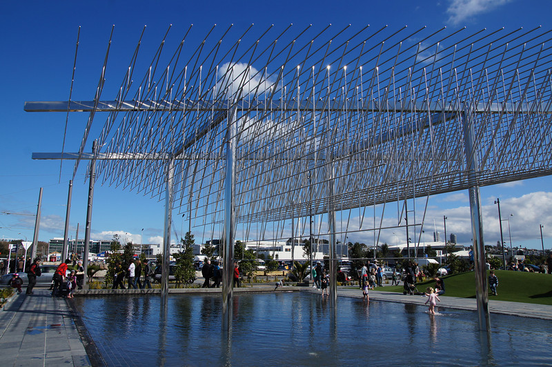 "The ""Wind Tree"" sculpture, Wynyard Quarter, Auckland. (Made from stainless steel by Japanese artist Michio Ihara)."
