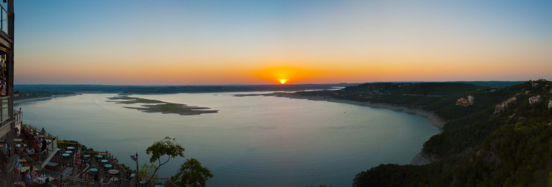 Austin Sunset from the Oasis during the summer drought this year. Those islands out there normally aren't visible. This is from August and it still hasn't rained much so the water is probably lower. An awesome place for drinks and a sunset!