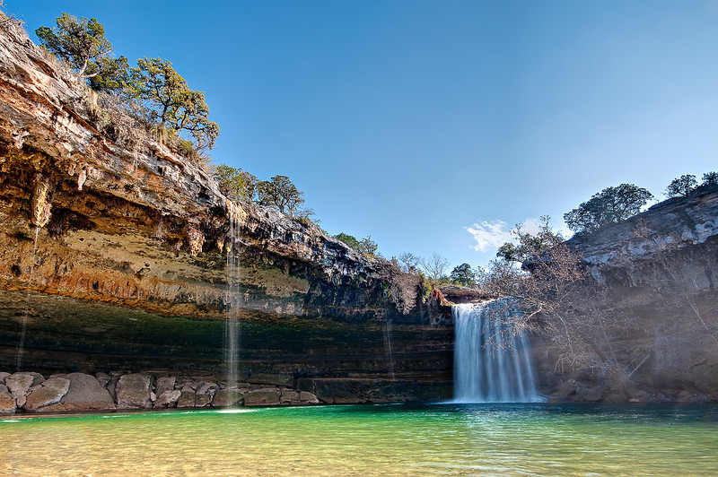 Hamilton Pool and Waterfall in Morning. Outside of Austin Texas is a natural feed pool that looks like you are in Hawaii
