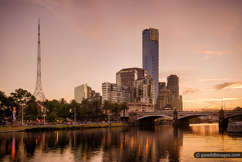 Melbourne Arts Centre and Eureka Tower on the Yarra River during Moomba festival