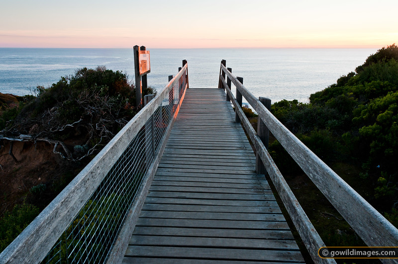 The boardwalk to Pulpit Rock and Pebble Beach, looking across to Apollo Bay