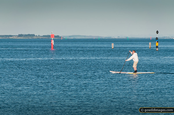 Paddle boarding on Westernport Bay, near Hastings Marina. Long Island and Phillip Island beyond.