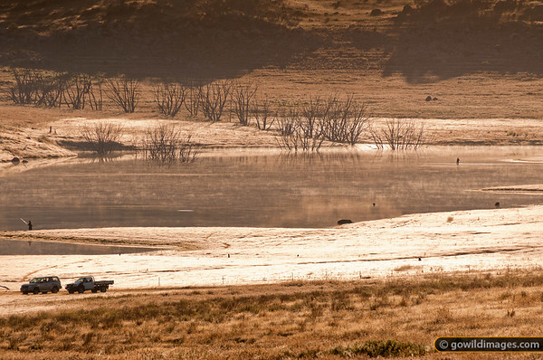 Fly fishing for trout in Lake Jindabyne, NSW