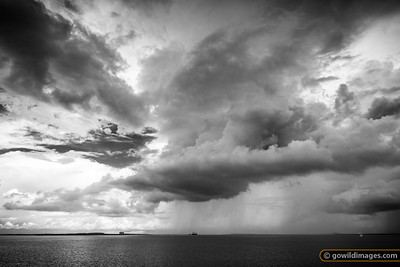 Wet season storm over Inpex gas plant pier, Darwin, NT