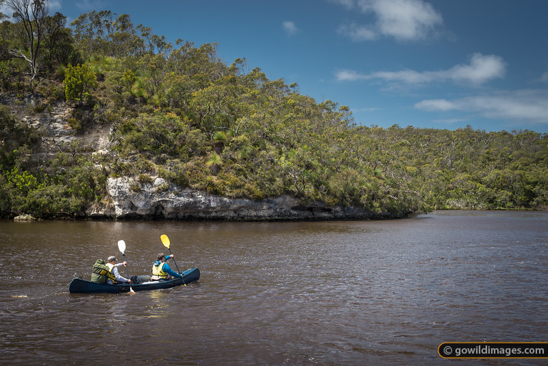 Paddlers on the Glenelg River at Donovans, South Australia. The river makes a short detour into SA, before heading back to Nelson, Victoria where it meets the sea.