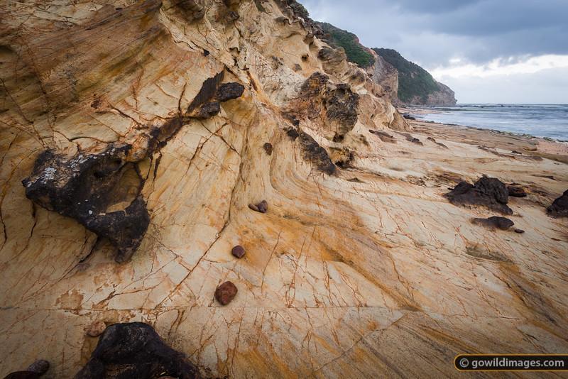 Sandstone strata in the cliffs of Wreck beach, Moonlight Head, Great Otway NP