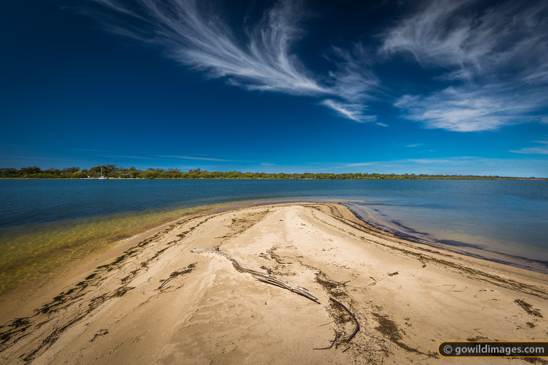 Trapper Point, Lake Reeve. A yacht is moored across the water at Rotamah Island, The Lakes NP.