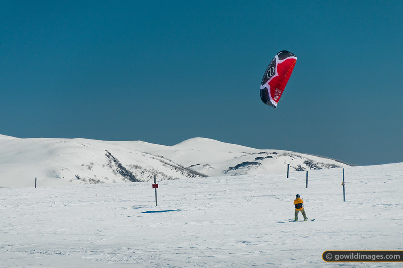 Para-boarding on the summit plateau of Falls Ck