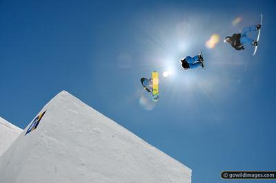 Big air at Falls Ck 2 September 2012. Snowboard: CC, Burton jacket Composite of multiple frames.