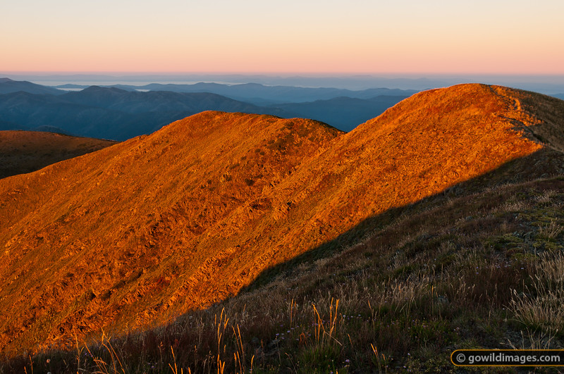 Looking south-west from Mt Feathertop at sunrise