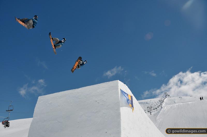 Big air at Falls Ck 2 September 2012. Snowboard: GNU Composite of multiple frames.