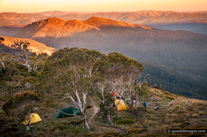 Campers on Mt Speculation enjoy a sunset view over The Viking and Wonnangatta Wilderness on the last day of 2012