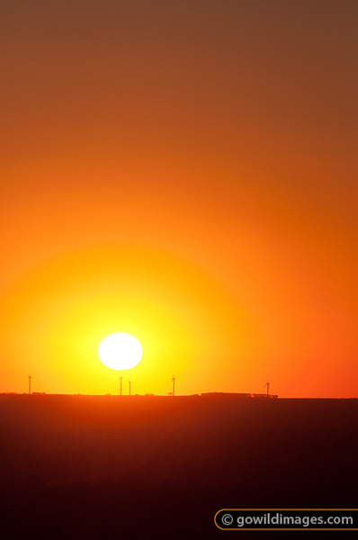 Sunrise over Ararat wind farm, 180km from Melbourne. Taken from near Dunkeld, southern Grampians.
