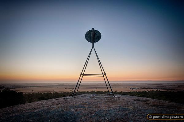 Sunrise on Mt Terrick Terrick trig point, Terrick Terrick NP