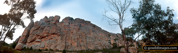 Morning light on 'Tiger Wall' at Mt Arapiles. A panorama suitable for full-quality poster printing up to 100cm x 30cm.