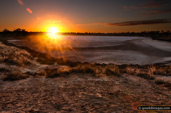 Animal tracks at sunrise on Lake Crosby, one of the pink salt lakes in Murray-Sunset NP.