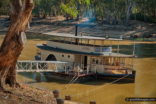 P.S. Canberra, paddlesteamer built in 1912, berthed at Echuca on the the Murray River
