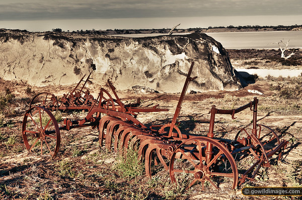 Salt mining relics and a salt mound by Lake Crosby, one of the pink salt lakes in Murray-Sunset NP. Salt mining was conducted here until 1979. Camels were used to ship the salt out for many years, until a railway was introduced. Other machinery images are available.