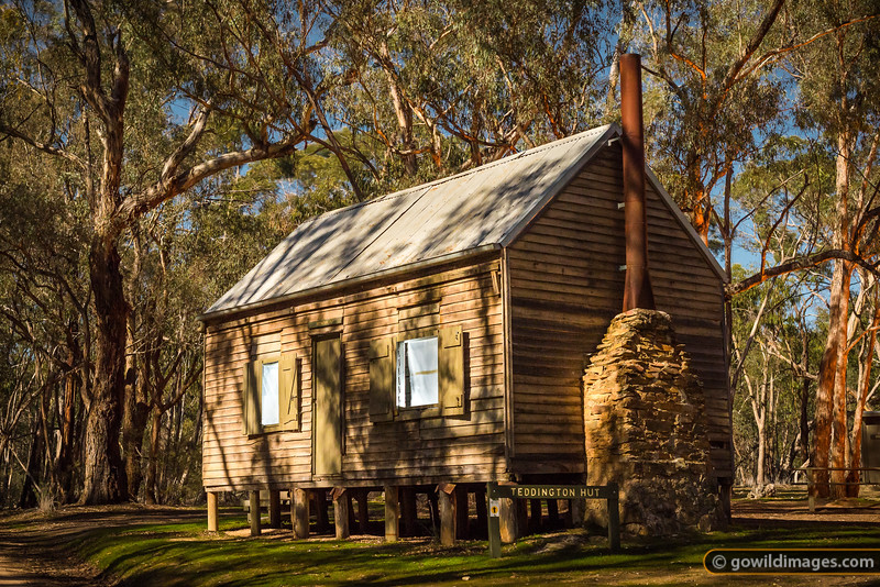 Teddington Hut, built around 1955, moonlit. Kara Kara National Park (formerly St Arnaud Range NP)