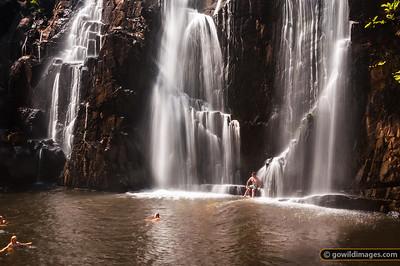 MacKenzie Falls being enjoyed on a 39C Summer day, Grampians NP