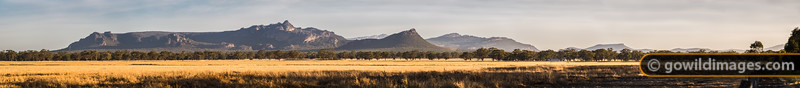 Northern Grampians, near Halls Gap, featuring The Pinnacle (centre) and Mt Zero (right of centre) with olive groves and wheat fields below. Can be printed up to 3m (118in) wide at photo quality.