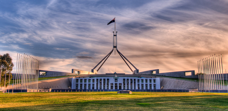 The new parliament of Australia. Located in Canberra. 9 photos were taken and combined as a HDR photo.