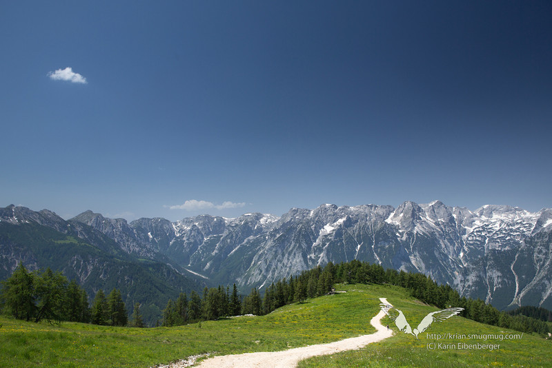 June 2012. Hiking from the Hutterer Höss to the Schafberg (1990 m). Somewhere in the middle you pass some small lakes which are needed for producing snow in the winter. Hiking from alp to alp you always have this incredible panorama of the Totes Gebirge (the 'Dead Mountain range'). <br /> <br /> We would have liked to continue up the Schrocken (2281 m) -  a kind of via ferrata - but it was way too hot with temperatures well in the 30ies.