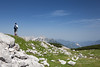 June 2012. Bernhard getting sunburnt.<br /> <br /> Hiking from the Hutterer Höss to the Schafberg (1990 m). Somewhere in the middle you pass some small lakes which are needed for producing snow in the winter. Hiking from alp to alp you always have this incredible panorama of the Totes Gebirge (the 'Dead Mountain range'). <br /> <br /> We would have liked to continue up the Schrocken (2281 m) -  a kind of via ferrata - but it was way too hot with temperatures well in the 30ies.