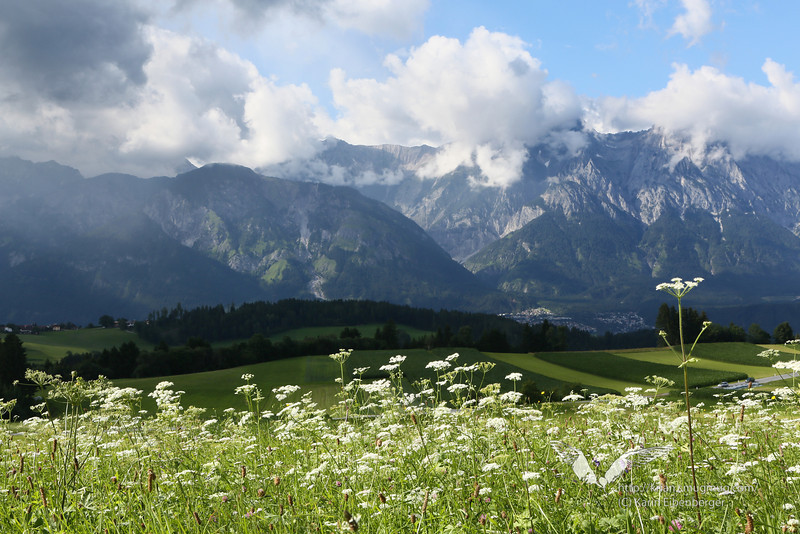July 2012. Hiking down from the Glungezer with this fantastic view of the Karwendel.
