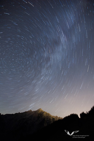 August 2012. A moonless night and the peaks of the beautiful Karwendel mountain range.