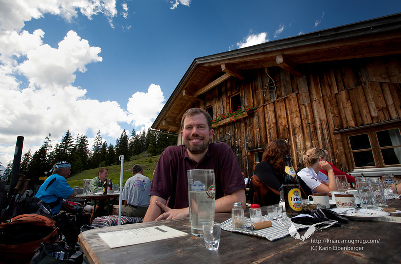 June 2011. Bernhard enjoying a drink and a glass of schnaps on the Oberbrunnalm.